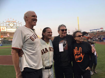 (Photo | The Jake Peavy Foundation) San Francisco Giants pitcher Jake Peavy — pictured second from left with retired basketball player and fellow Deadhead Bill Walton (left), longtime roadie Steve Parish (second from right) and Grateful Dead drummer Mickey Hart (far right) — is incorporating his love of music into his community philanthropy.