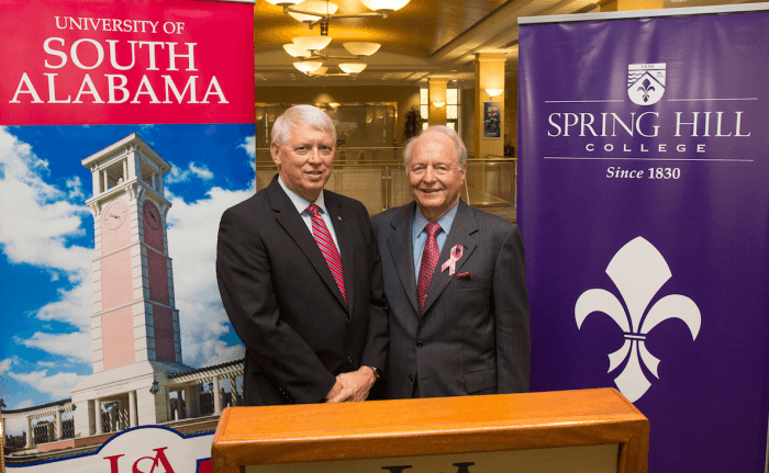 University of South Alabama President Dr. Tony Waldrop, left, and Spring Hill College President Dr. Christopher Puto announced a new program last week that's expected to benefit students at both institutions. (Courtesy USA)