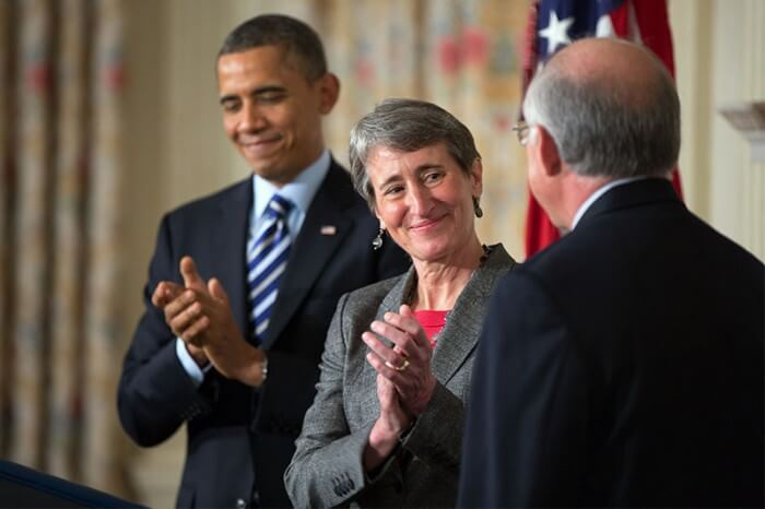 President Barack Obama and U.S. Secretary of the Interior Sally Jewell. (Official White House Photo by Pete Souza)