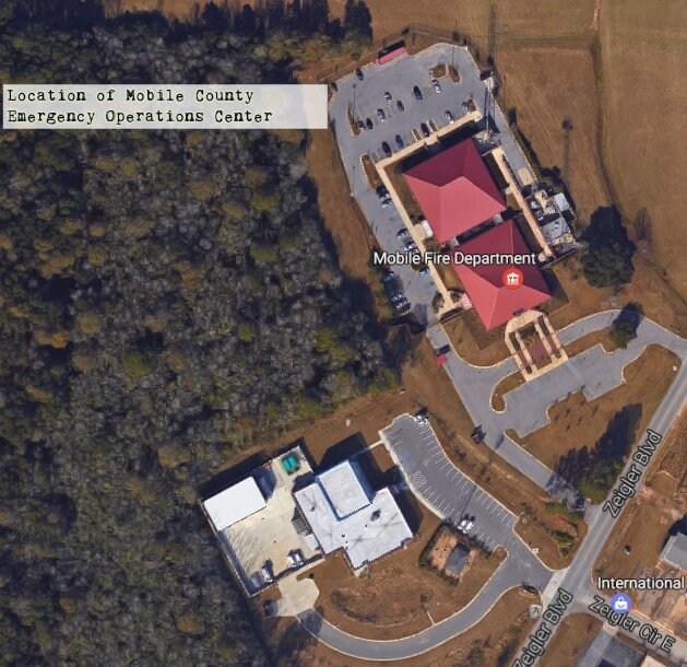 A ariel photograph of the property Mobile County plans to build a $10 million Emergency Operations Center on. (Google)