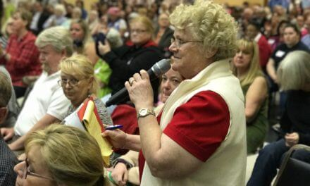 Byrne fields questions at packed town hall