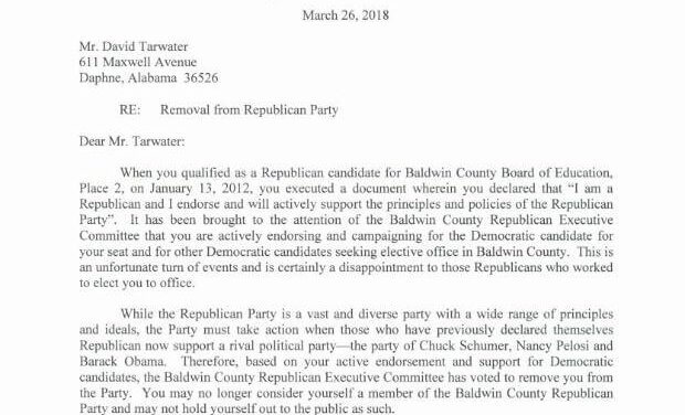 Baldwin GOP removes school board member who endorsed Democrat (updated)