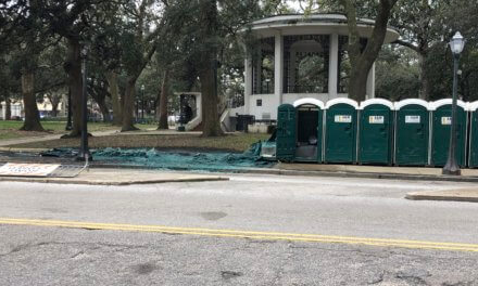 Portable toilets catch fire downtown