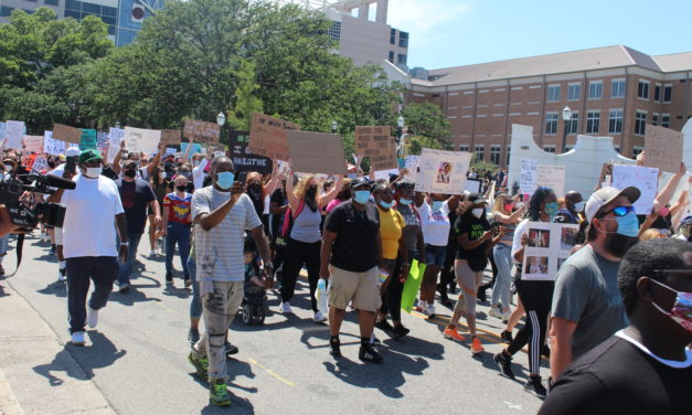 In mostly peaceful demonstration, local protesters bemoan police brutality